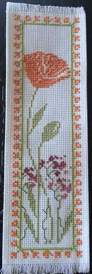 California Poppy cross stitch bookmark