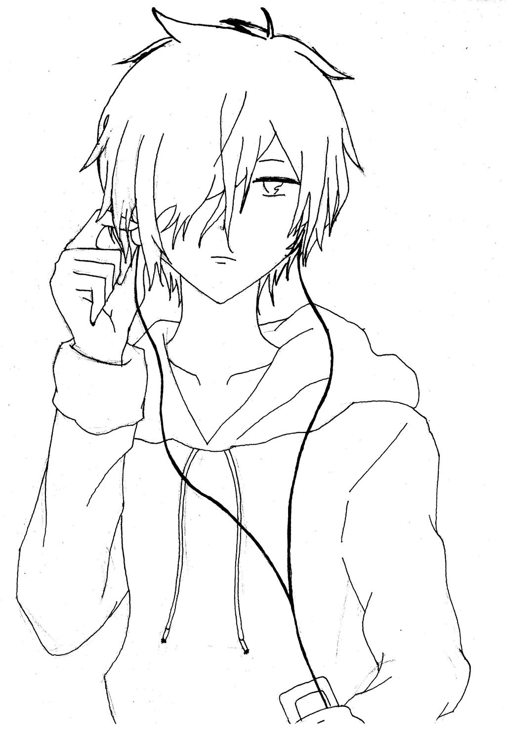 Lineart Anime Boy : Anime manga guy line art by gijoerenegades on deviantart