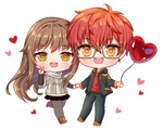 Commission: 707 and MC from Mystic Messenger
