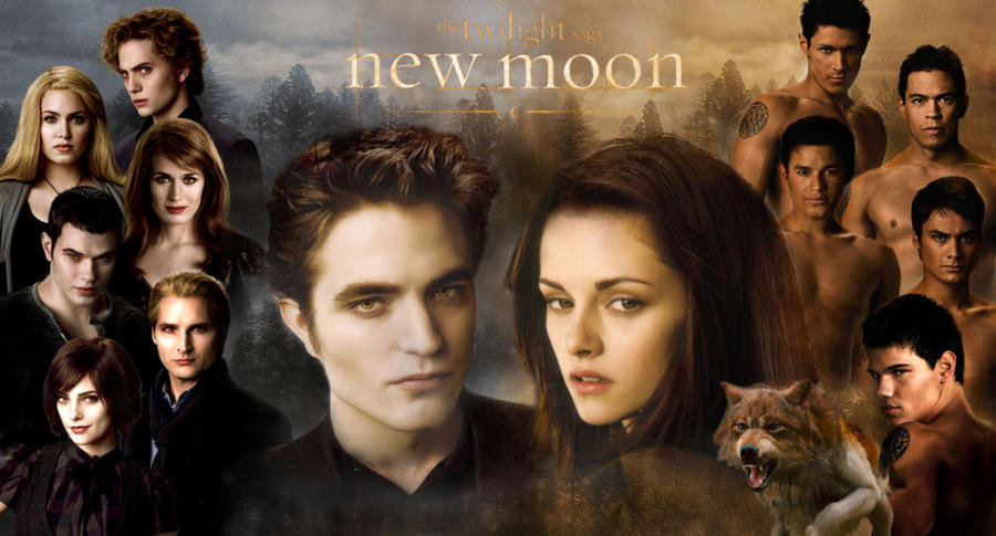 new moon cast poster by masochisticlove