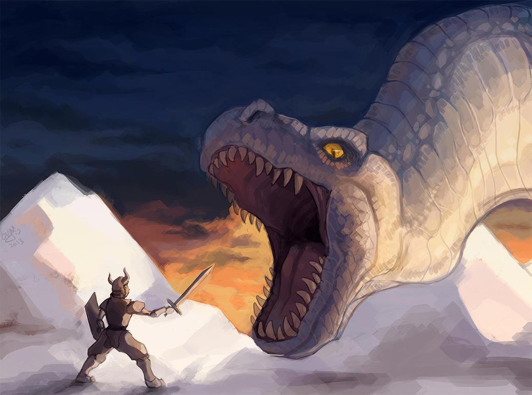 Blue snow dinosaur (front view) | HamptonRoads.com | PilotOnline.com