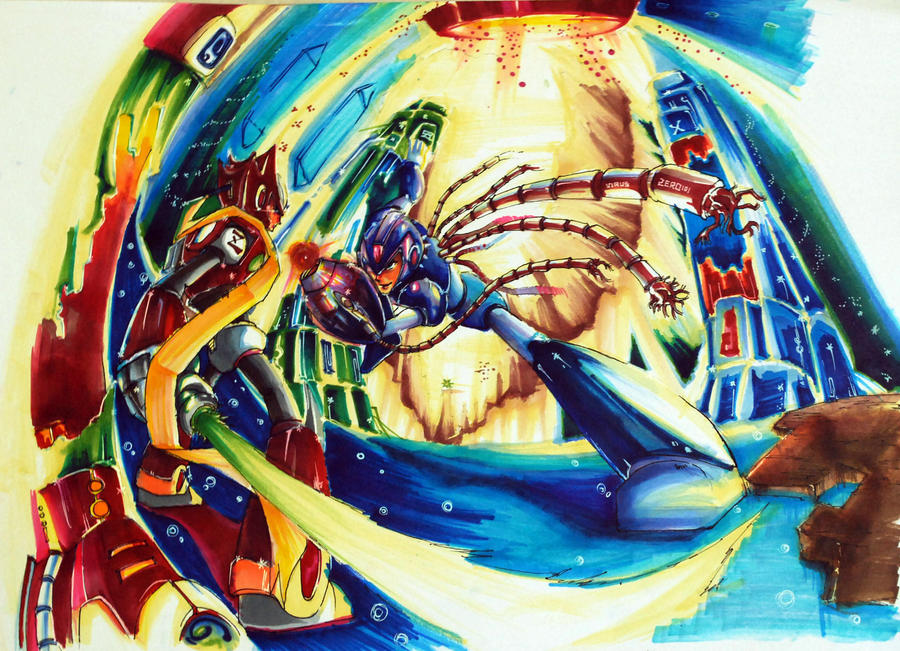 X vs Zero by SilverFlameX