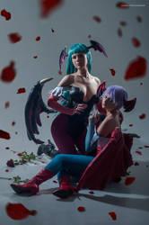 Morrigan Aensland and Lilith. Darkstalkers.