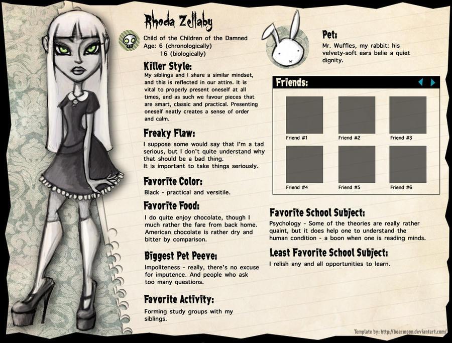 Monster High profile: Rhoda by Alias-Hugo