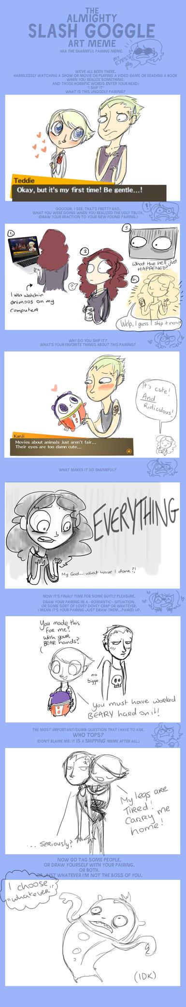 Shameful Pairing Meme: Kanji/Teddie by Alias-Hugo