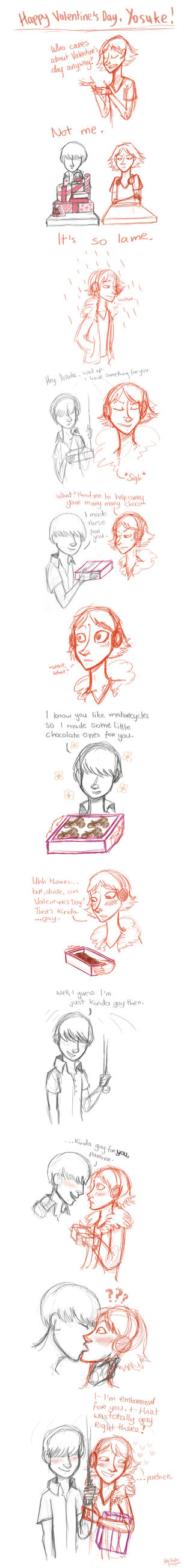 P4 Sketch Comic: Happy Valentine's Yosuke by Alias-Hugo
