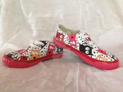 d1aefeb048664 cat pattern hand painted kids shoes by rebbiii on DeviantArt