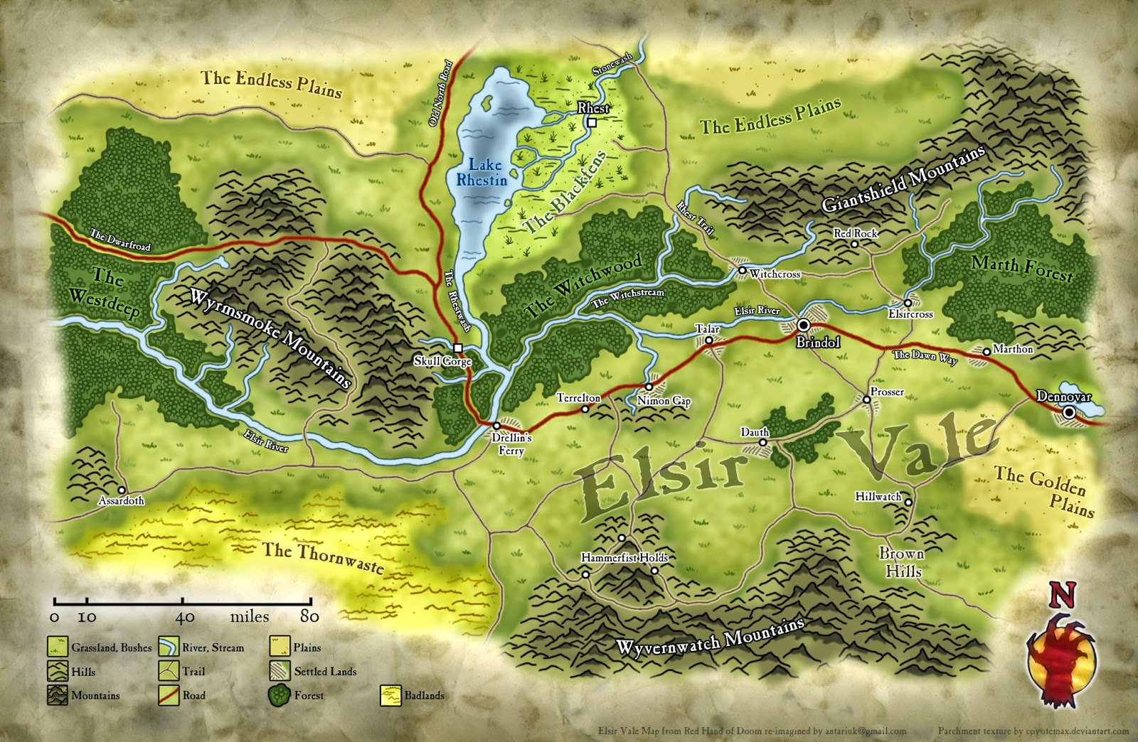 Red Hand of Doom: Elsir Vale Map (Player) by Antariuk on