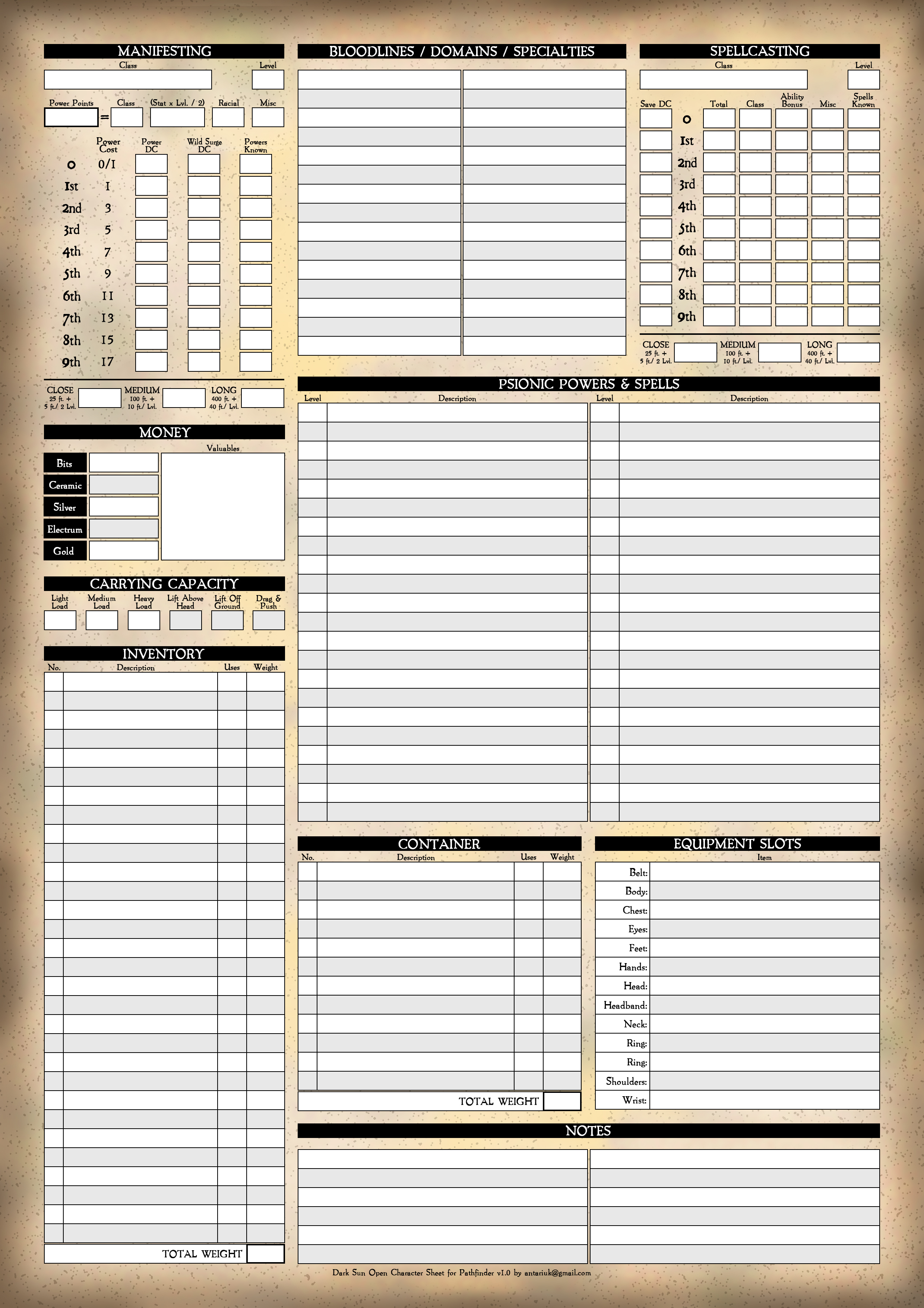 Dark Sun Pathfinder Character Sheet - Page 2 by Antariuk on