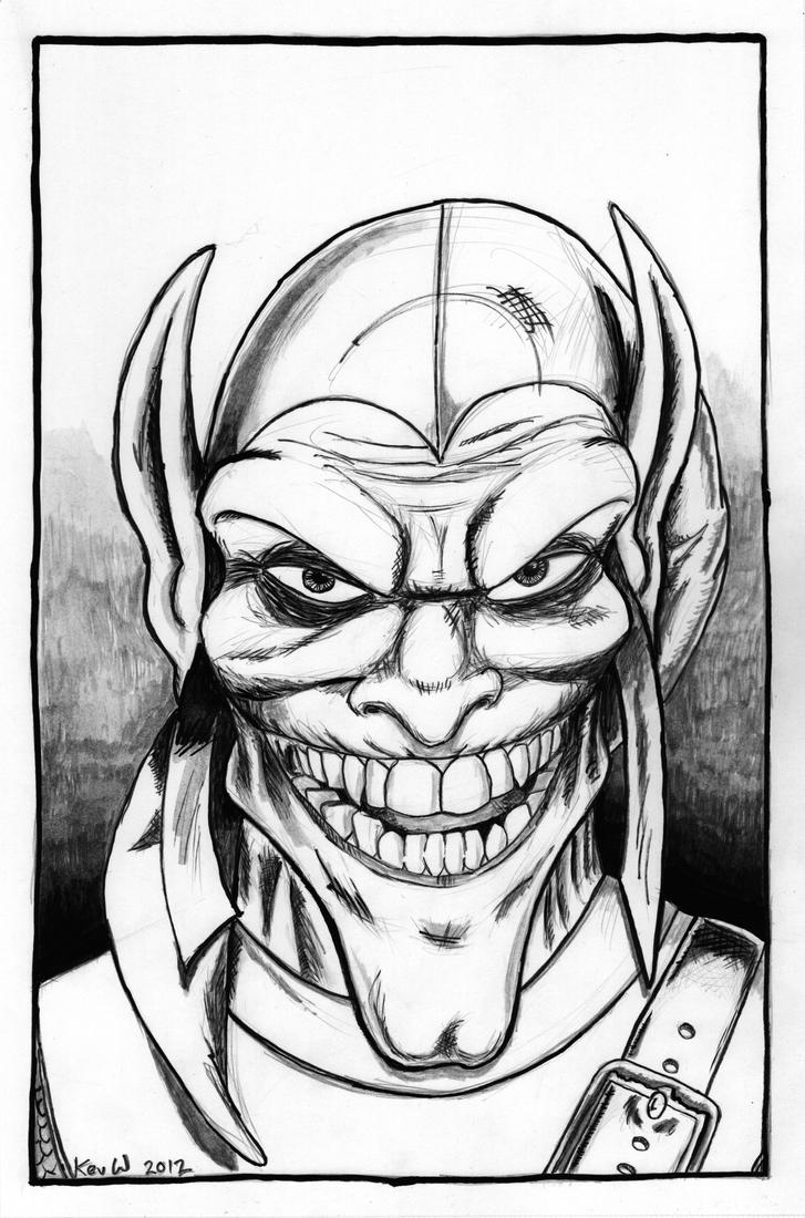 Green goblin inked by kevweldon on deviantart for Green goblin coloring pages