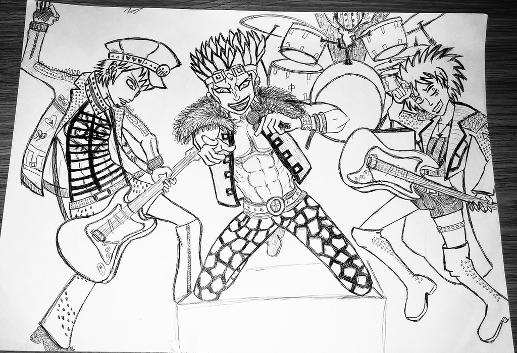 rock band one piece sketch the strawheart kids by dasnarcles - Sketch Images For Kids