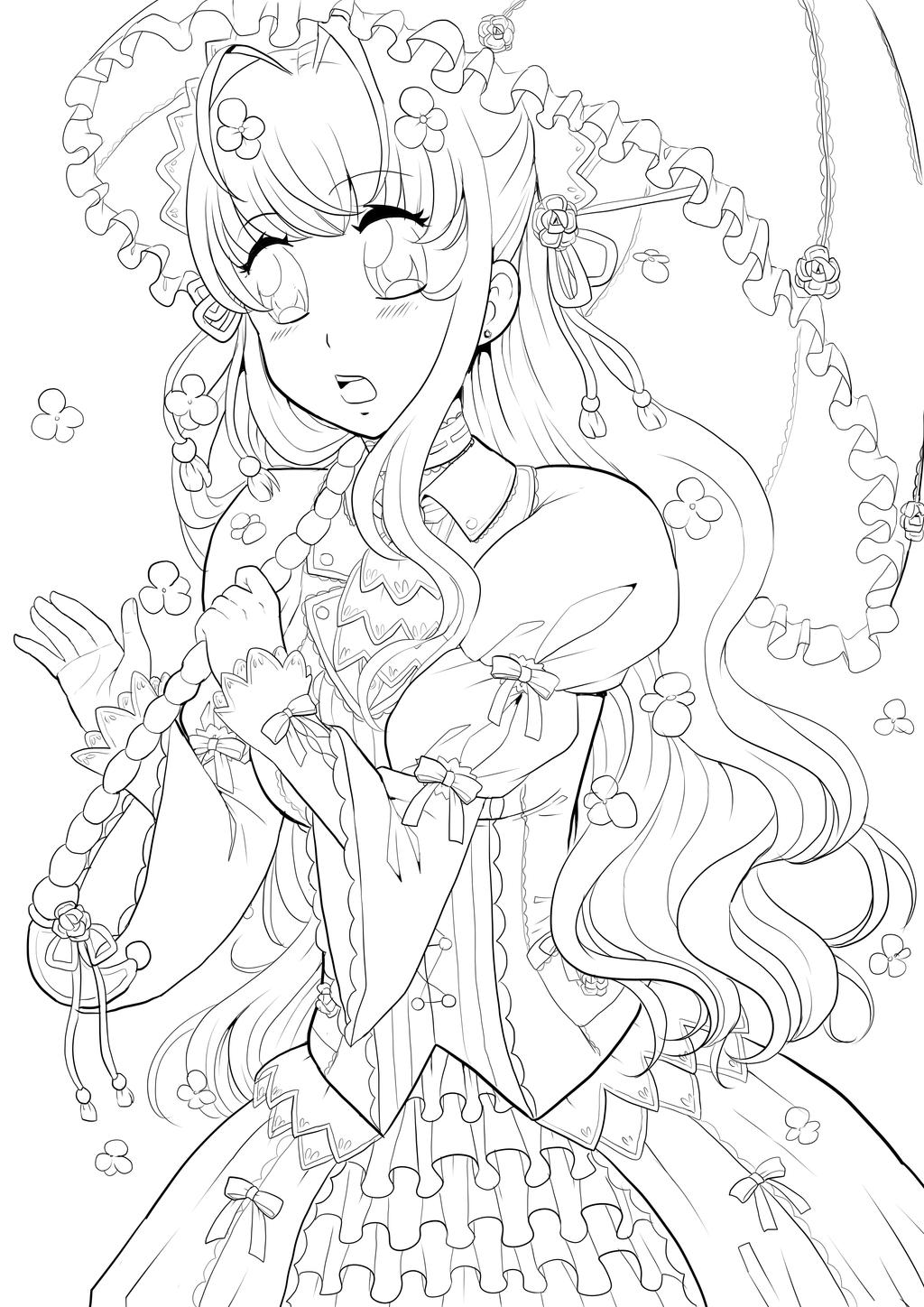 Manga studio ex 5 coloring pages ~ Flower Umbrella Girl Lineart by Twinkiesama on DeviantArt