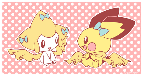 Jirachi and Pichu by AyleenSeraph