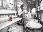 Old woman with Cola