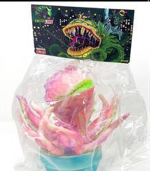 Audrey 2 sofubi toy with my header card art