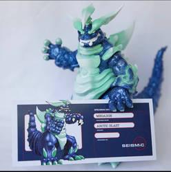 Megadon sofubi toy header card art