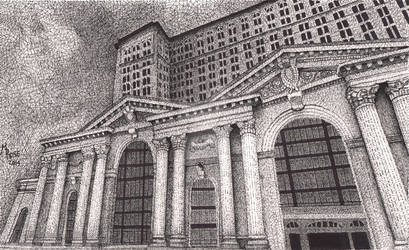 Michigan Central Station - Pen and Ink
