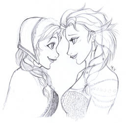 Anna and Elsa by Fidjie