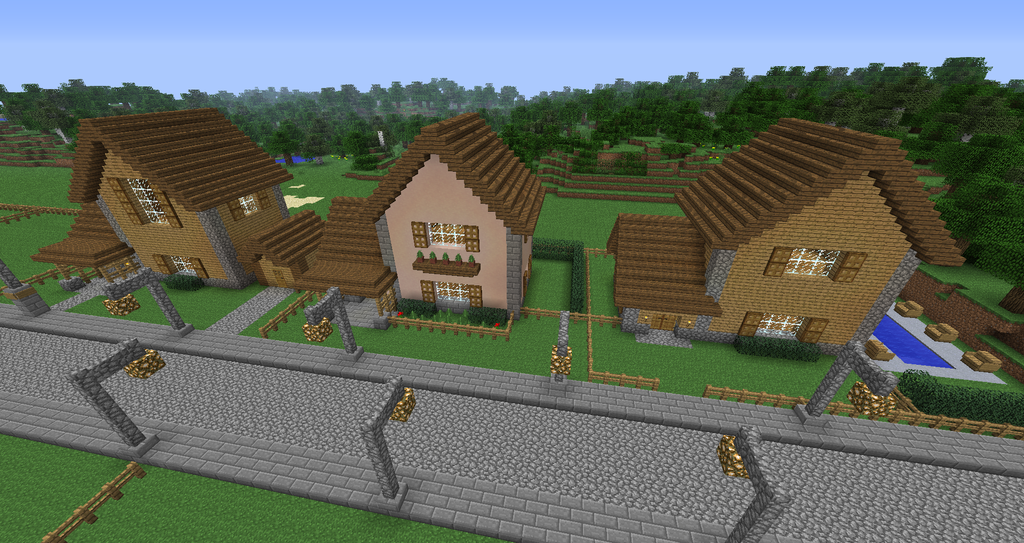 I copy pasted the same house many times, and then everyone made slight material and cosmetic tweaks.