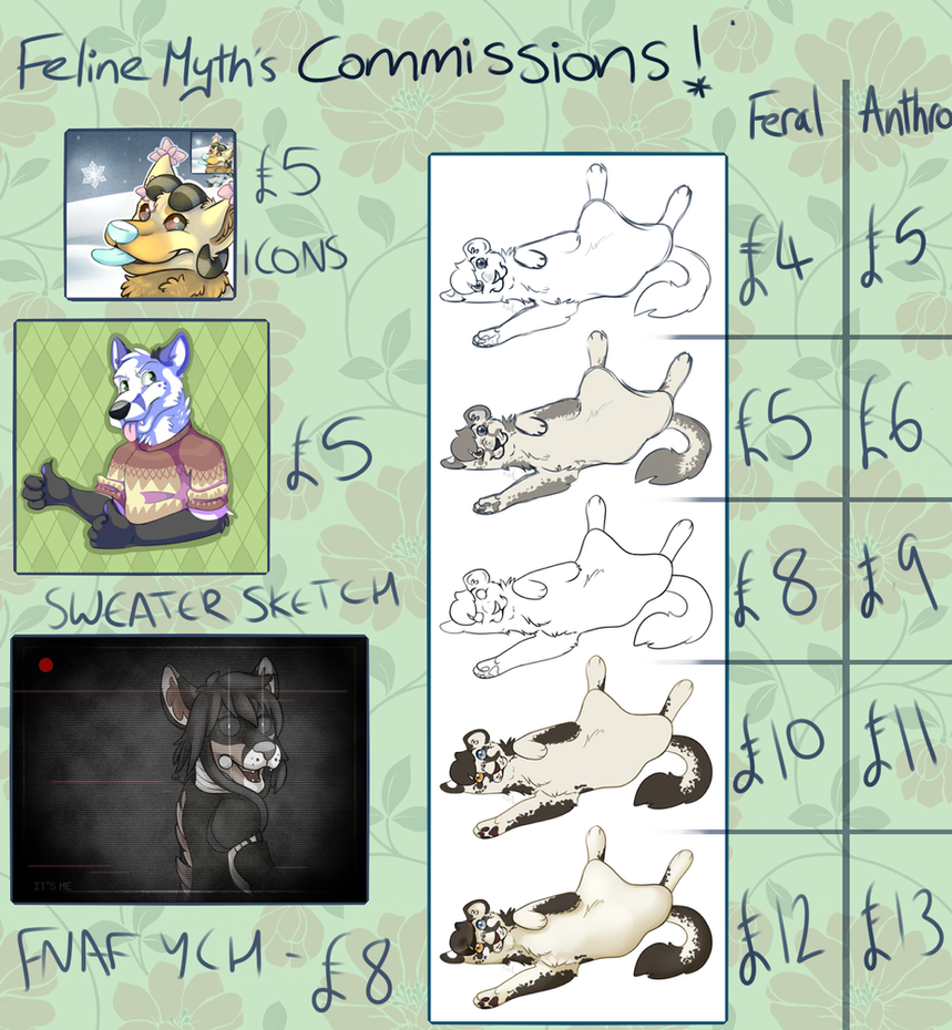 Commission sheet - New Spring Commissions!!! by FelineMyth