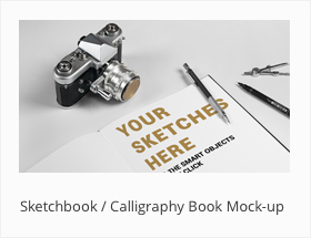 Sketchbook Calligraphy Book Mock-up Mockup Letteri by SynthDesign