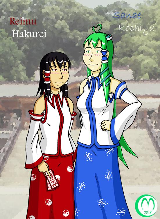 Reimu y Sanae (Moriya Edition) by Carmichael-Micaalus