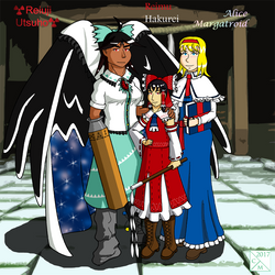 Reimu, Alice, y Utsuho by Carmichael-Micaalus