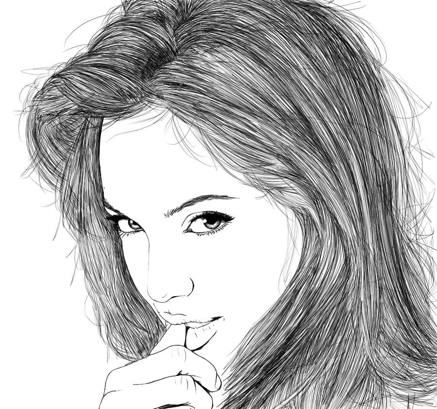 D Line Drawings : Angelina jolie line art by ryster on deviantart