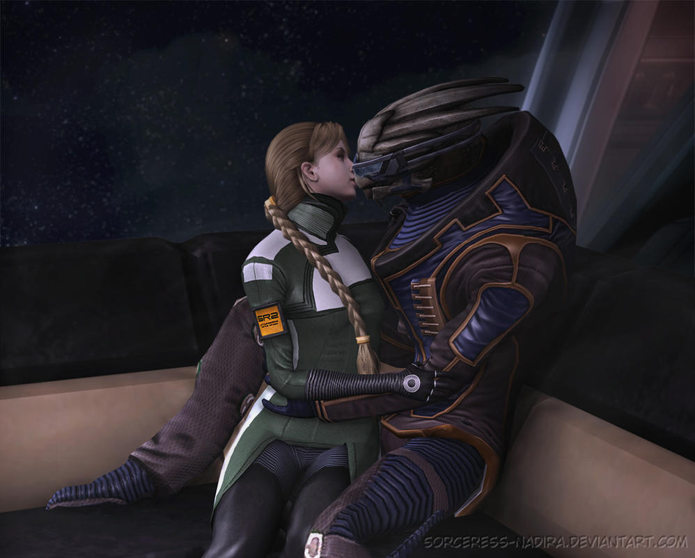 The sofa series - Danielle and Garrus by Sorceress-Nadira