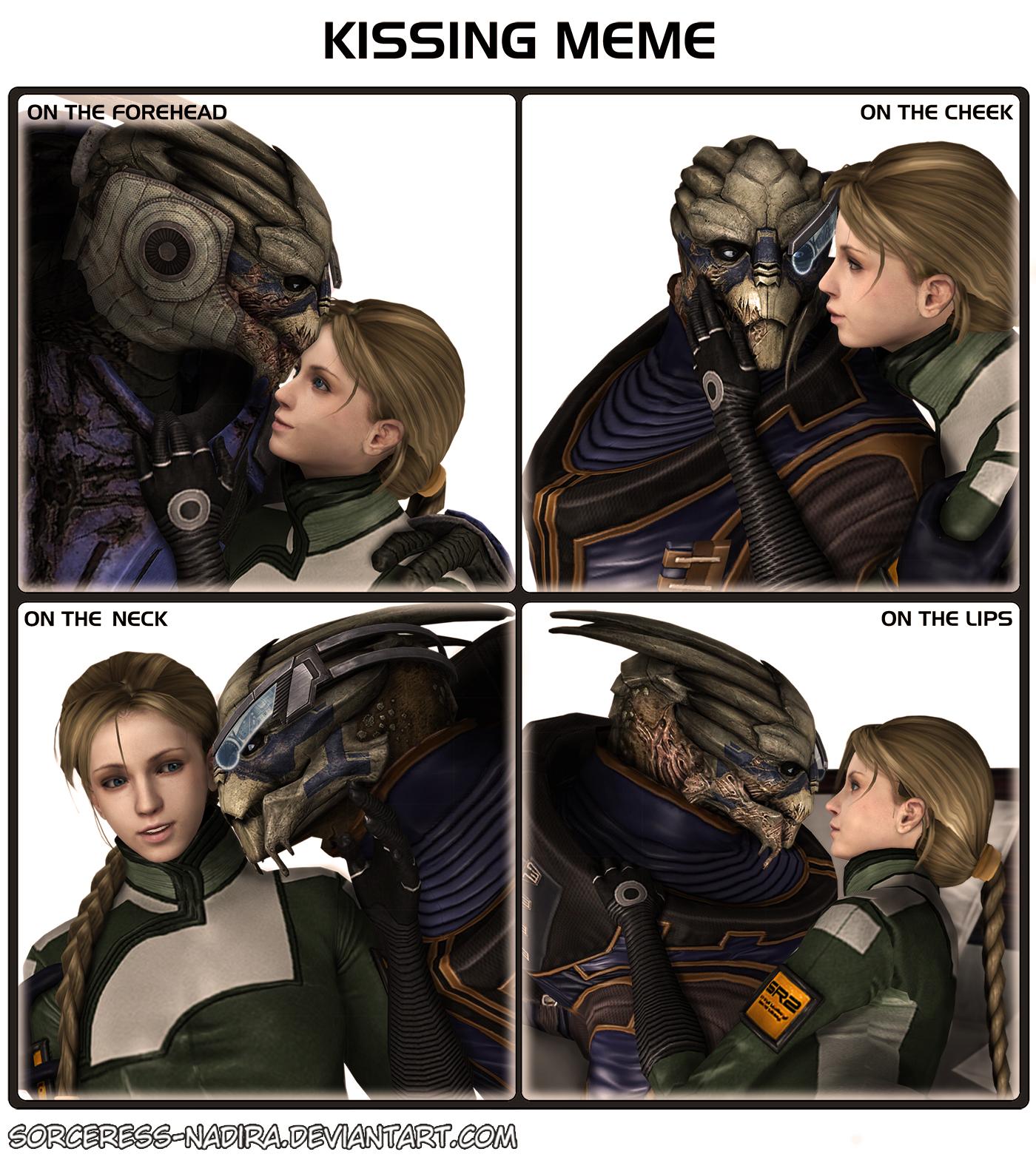 Kissing meme - Garrus and Danielle by Sorceress-Nadira