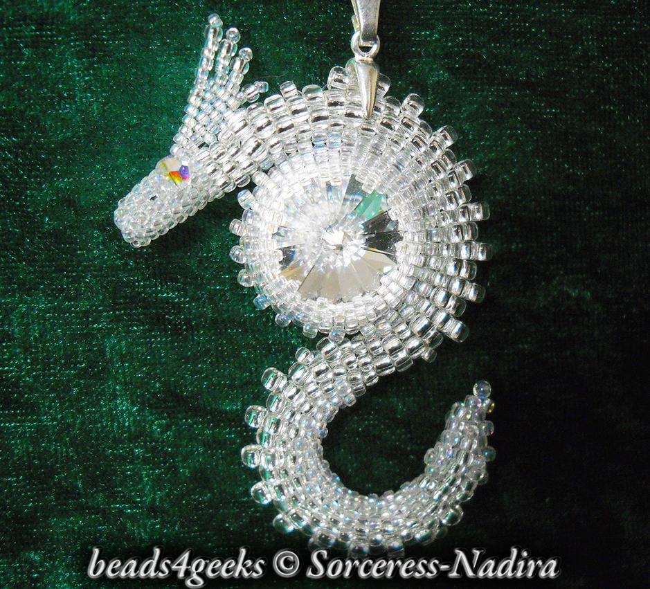 Crystal Swarovski Beaded Dragon Pendant by Sorceress-Nadira