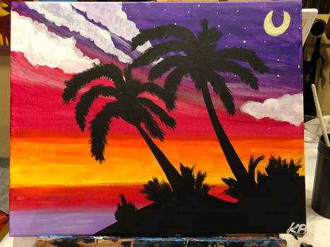 Painting with a Twist: Palm Tree Sunset