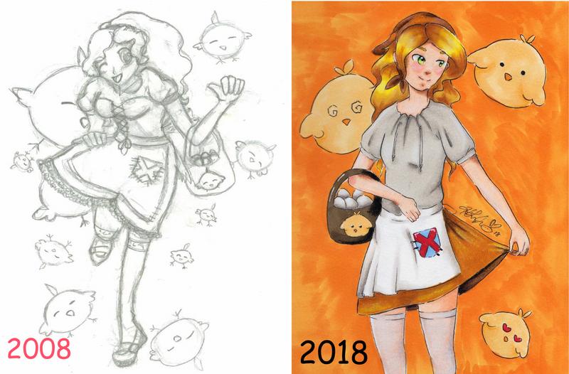 2008 to 2018 -- The egg girl by kiomayoko