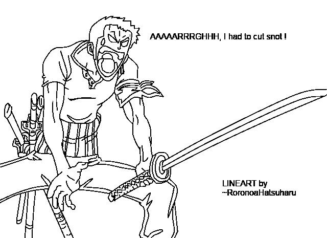 Zoro Lineart : Roronoa zoro lineart by gvtertje on deviantart