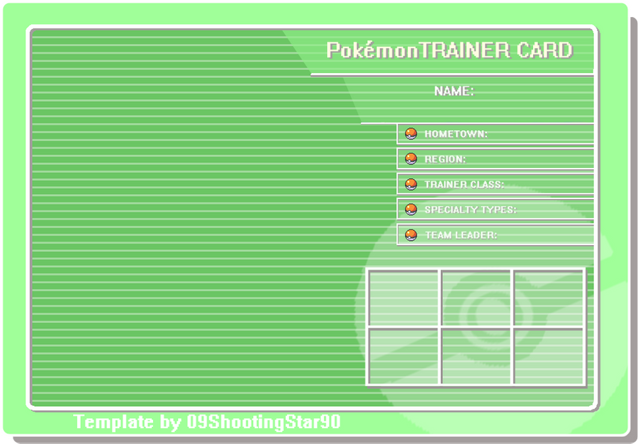 Trainer Card Template By ShootingStar On DeviantArt - Pokemon trainer card template