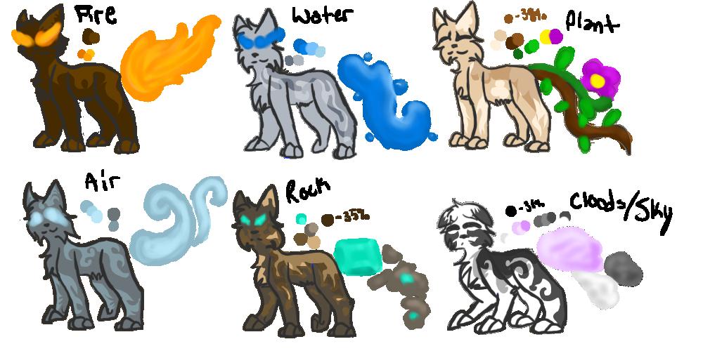 Elemental Cats - Batch 1 by SunnPie on DeviantArt