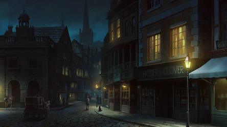 Medieval Town at Night