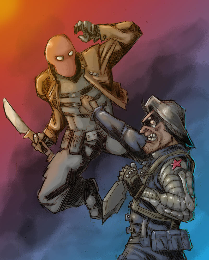 Red Hood vs. Winter Soldier by Canalus