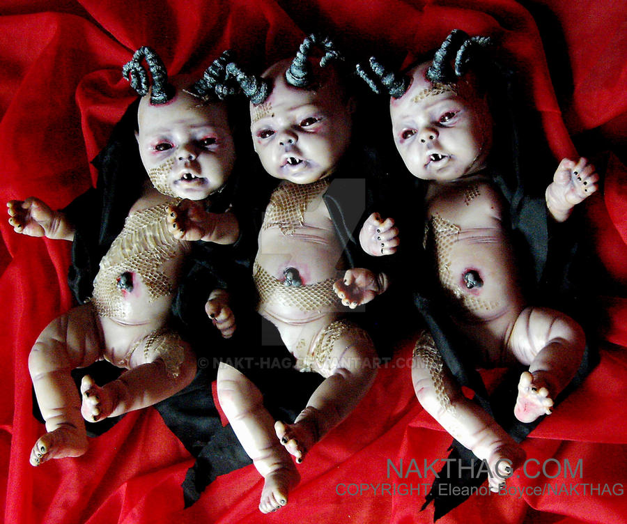 AND TO THE DEVIL 3 DAUGHTERS - Gothic Horror Dolls by NAKT-HAG