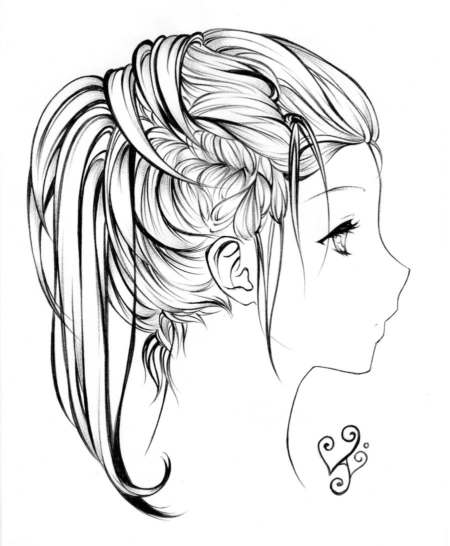 Line Drawing Hair : Hair lineart by as if i draw on deviantart