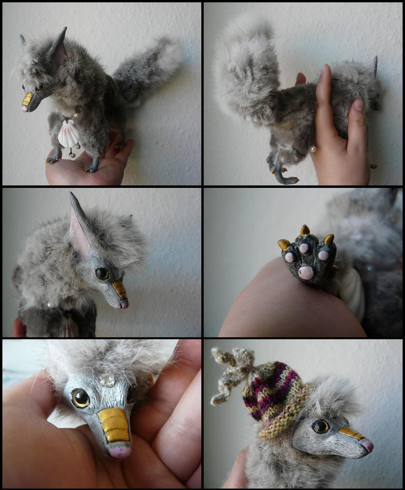 Posable Doll With Rabbit Fur by CabinetCuriosities