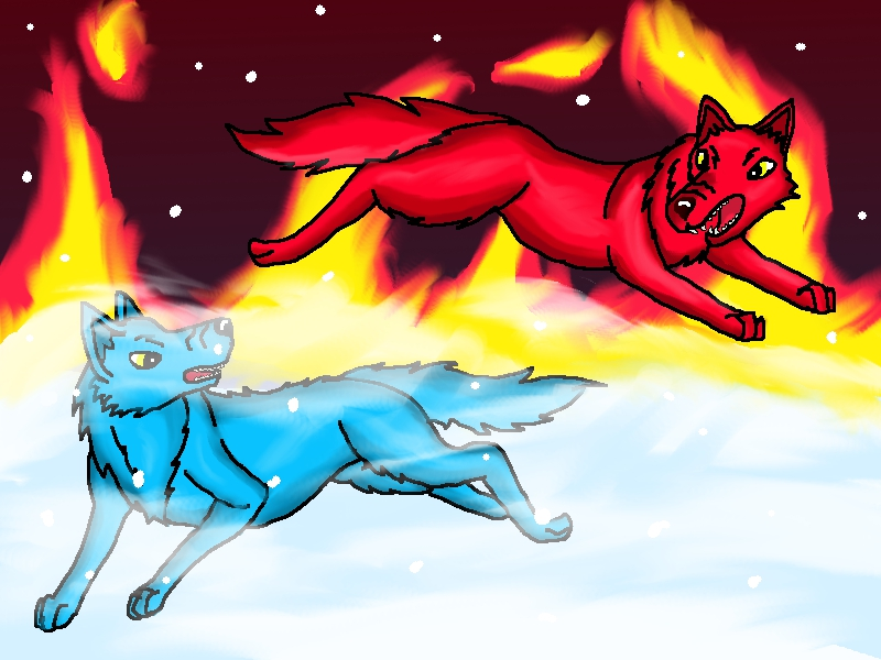 Fire and ice wolf by utpjak on DeviantArt