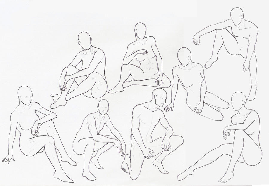 male drawing poses