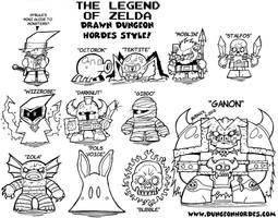 Zelda Monsters Lineart by Dungeonhordes