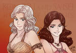 Two friends in manga style into Game of Thrones