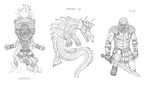 Mythical monsters preparatory sketches #16