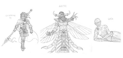 Mythical monsters preparatory sketches #19 by DoctorChevlong