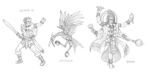 Mythical monsters preparatory sketches #22 by DoctorChevlong