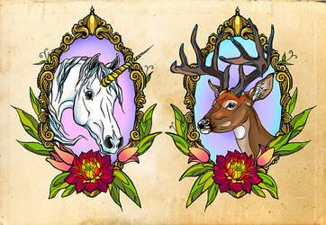 Deer and Unicorn by Jeanne-Saar