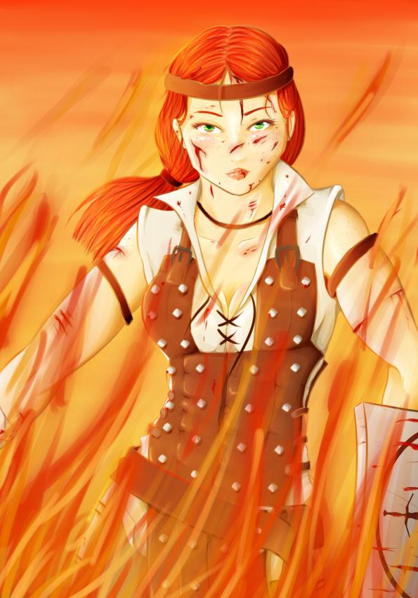 Aveline Dragon Age 2 Fan Art blood and fire by NaokoYamashita
